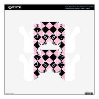 Diag Checkered Large - Black and Cotton Candy Skins For PS3 Controllers