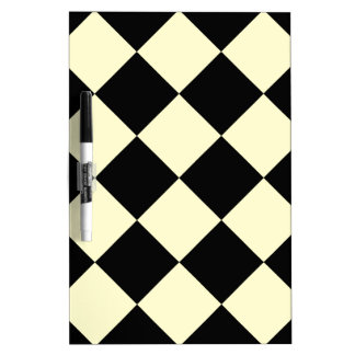 Diag Checkered Large - Black and Cream Dry Erase Board