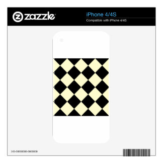 Diag Checkered Large - Black and Cream iPhone 4 Skins