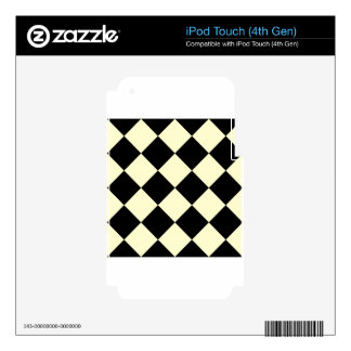Diag Checkered Large - Black and Cream iPod Touch 4G Decals