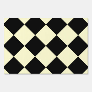 Diag Checkered Large - Black and Cream Sign