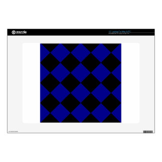 "Diag Checkered Large - Black and Dark Blue 15"" Laptop Decals"