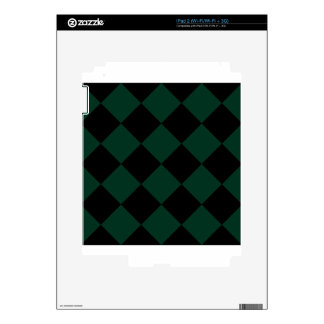 Diag Checkered Large - Black and Dark Green Decal For The iPad 2