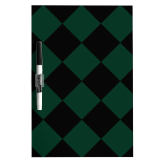 Diag Checkered Large - Black and Dark Green Dry-Erase Board