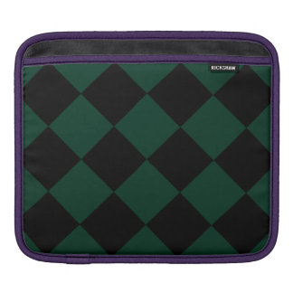 Diag Checkered Large - Black and Dark Green Sleeves For iPads