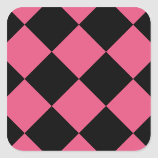 Diag Checkered Large - Black and Dark Pink Square Sticker