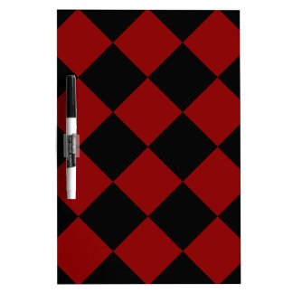 Diag Checkered Large - Black and Dark Red Dry-Erase Board