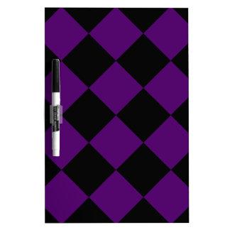 Diag Checkered Large - Black and Dark Violet Dry Erase Board