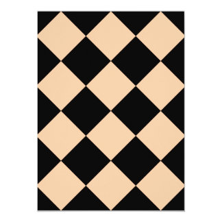 Diag Checkered Large - Black and Deep Peach 5.5x7.5 Paper Invitation Card