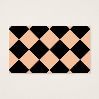 Diag Checkered Large - Black and Deep Peach Business Card