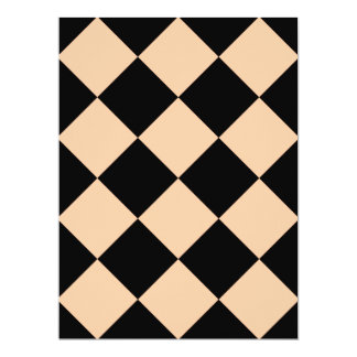 Diag Checkered Large - Black and Deep Peach Card
