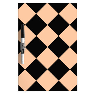 Diag Checkered Large - Black and Deep Peach Dry-Erase Board