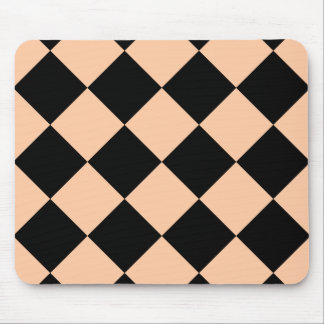 Diag Checkered Large - Black and Deep Peach Mouse Pad
