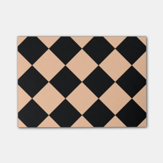 Diag Checkered Large - Black and Deep Peach Post-it® Notes