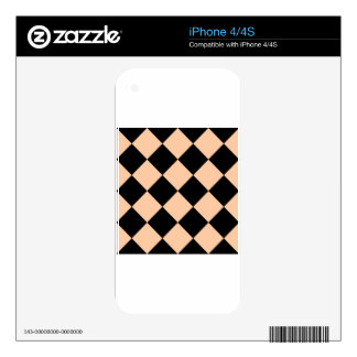 Diag Checkered Large - Black and Deep Peach Skin For The iPhone 4