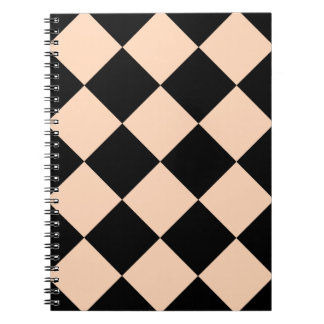 Diag Checkered Large - Black and Deep Peach Spiral Notebook