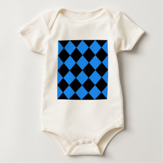 Diag Checkered Large - Black and Dodger Blue Baby Bodysuit