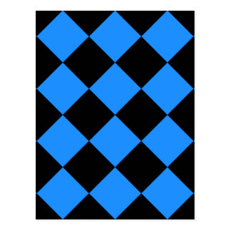 Diag Checkered Large - Black and Dodger Blue Postcard