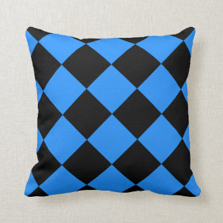 Diag Checkered Large - Black and Dodger Blue Throw Pillow