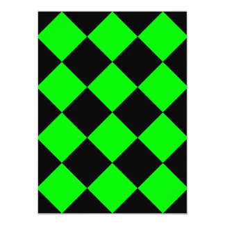 Diag Checkered Large - Black and Electric Green 5.5x7.5 Paper Invitation Card