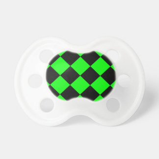 Diag Checkered Large - Black and Electric Green Pacifier