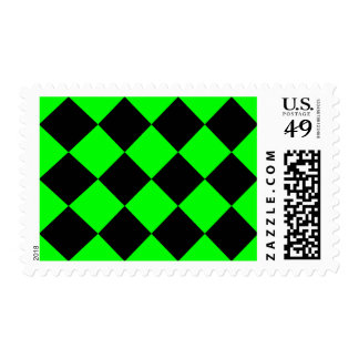 Diag Checkered Large - Black and Electric Green Postage Stamp
