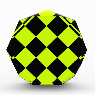 Diag Checkered Large-Black and Fluorescent Yellow Acrylic Award