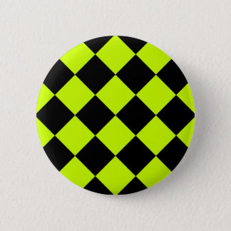 Diag Checkered Large-Black and Fluorescent Yellow Button