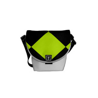 Diag Checkered Large-Black and Fluorescent Yellow Courier Bag