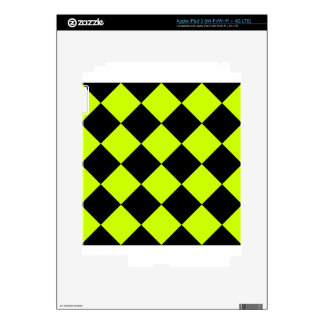 Diag Checkered Large-Black and Fluorescent Yellow Decals For iPad 3