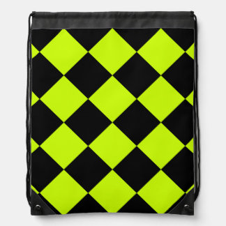 Diag Checkered Large-Black and Fluorescent Yellow Drawstring Bag