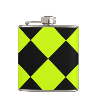 Diag Checkered Large-Black and Fluorescent Yellow Hip Flask