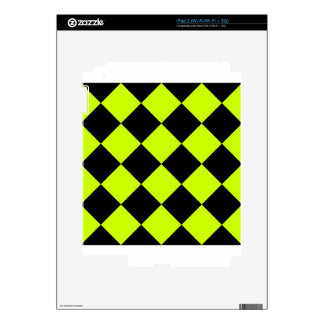 Diag Checkered Large-Black and Fluorescent Yellow iPad 2 Decal