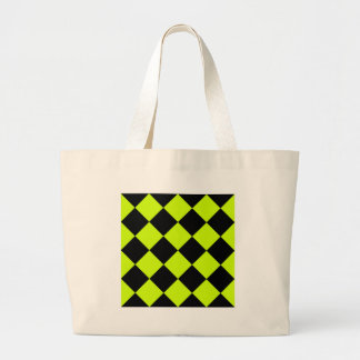Diag Checkered Large-Black and Fluorescent Yellow Large Tote Bag