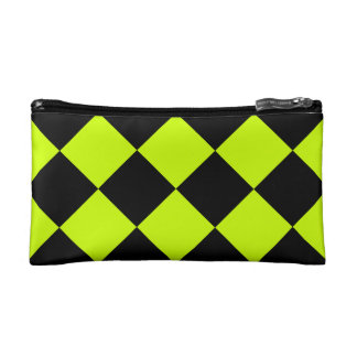Diag Checkered Large-Black and Fluorescent Yellow Makeup Bag