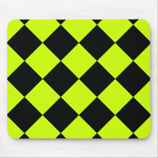Diag Checkered Large-Black and Fluorescent Yellow Mouse Pad