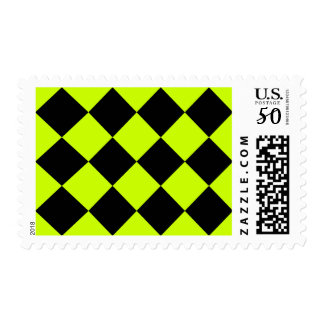 Diag Checkered Large-Black and Fluorescent Yellow Postage
