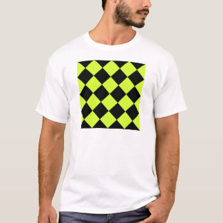 Diag Checkered Large-Black and Fluorescent Yellow T-Shirt