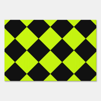 Diag Checkered Large-Black and Fluorescent Yellow Yard Sign