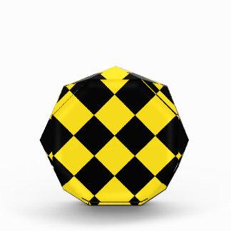Diag Checkered Large - Black and Golden Yellow Acrylic Award
