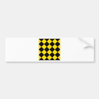 Diag Checkered Large - Black and Golden Yellow Bumper Sticker