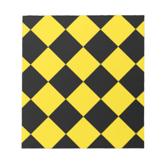 Diag Checkered Large - Black and Golden Yellow Notepad