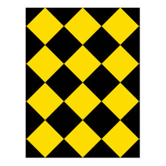 Diag Checkered Large - Black and Golden Yellow Postcard