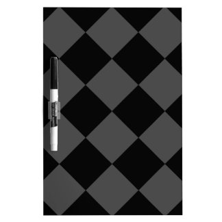 Diag Checkered Large - Black and Gray Dry Erase Board