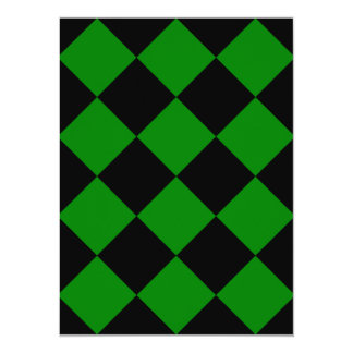 Diag Checkered Large - Black and Green 5.5x7.5 Paper Invitation Card