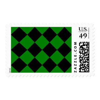 Diag Checkered Large - Black and Green Postage