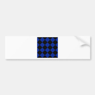 Diag Checkered Large - Black and Imperial Blue Bumper Sticker