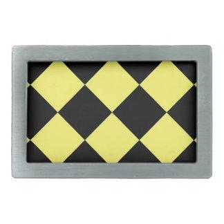 Diag Checkered Large - Black and Lemon Belt Buckle