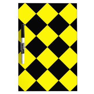 Diag Checkered Large - Black and Lemon Dry Erase Board