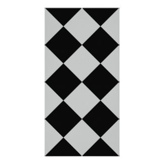 Diag Checkered Large - Black and Light Gray Card